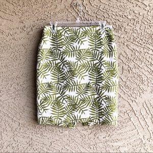 ANN TAYLOR Tropical Leaf Textured Pencil Skirt